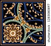 design scarf with golden... | Shutterstock .eps vector #1283080897