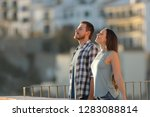 happy couple in a town... | Shutterstock . vector #1283088814