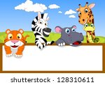Stock vector zoo animal cartoon with blank sign 128310611