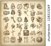 sketch doodle icon collection ... | Shutterstock .eps vector #128313269