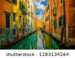 beautiful view on canal with... | Shutterstock . vector #1283134264