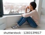 depressed young girl feeling... | Shutterstock . vector #1283139817