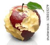 red ripe apple. its juicy pulp...   Shutterstock . vector #128315279