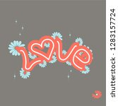 love drawn letters with trendy...   Shutterstock .eps vector #1283157724