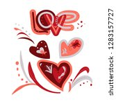 love drawn letters with...   Shutterstock .eps vector #1283157727