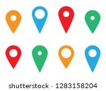 map pin icon set  pointer... | Shutterstock .eps vector #1283158204