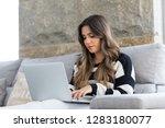 beautiful young woman relaxing... | Shutterstock . vector #1283180077