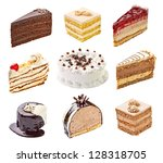 collection of  various cakes on