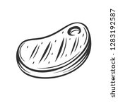 steak meat  outline vector. bbq ... | Shutterstock .eps vector #1283192587