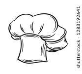 cook hat  outline vector. hand...   Shutterstock .eps vector #1283192641