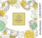 background with falafel in pita ... | Shutterstock .eps vector #1283193397