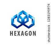 hexagon three dimensional style ... | Shutterstock .eps vector #1283195974