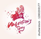 happy valentine's day. purple... | Shutterstock .eps vector #1283203177