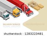 isometric style of trucks on... | Shutterstock .eps vector #1283223481