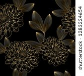 Luxurious vintage seamless pattern with golden flowers chrysanthemum  and leaves.