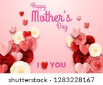 happy mother's day with rose on ... | Shutterstock .eps vector #1283228167