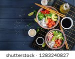 hawaiian salmon fish poke bowl... | Shutterstock . vector #1283240827