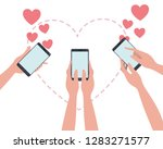 hands with smartphone and... | Shutterstock .eps vector #1283271577
