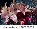 pink flower florist bouquet... | Shutterstock . vector #1283283091