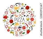 banner for pizza box.... | Shutterstock .eps vector #1283291167