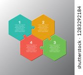 four pieces puzzle hexagon... | Shutterstock .eps vector #1283292184