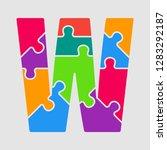 vector puzzle piece letter   w. ... | Shutterstock .eps vector #1283292187