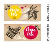 hand drawn sketch cocoa... | Shutterstock .eps vector #1283295667