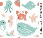 sea baby cute seamless pattern. ... | Shutterstock .eps vector #1283299804