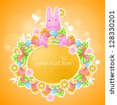 pink rabbit of easter theme.... | Shutterstock .eps vector #128330201