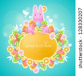 pink rabbit of easter theme.... | Shutterstock .eps vector #128330207