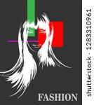 fashion girls face. woman face. ... | Shutterstock .eps vector #1283310961