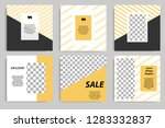 Stock vector editable square banner template for social media post golden yellow frame with black and white 1283332837
