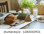 country breakfast on rustic... | Shutterstock . vector #1283332921