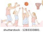 friends playing basketball ... | Shutterstock .eps vector #1283333881