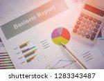 business report chart preparing ... | Shutterstock . vector #1283343487
