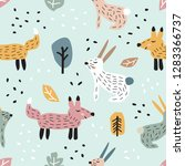 childish seamless pattern with... | Shutterstock .eps vector #1283366737