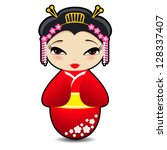 Kokeshi Doll  Vector Cartoon...