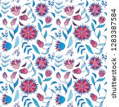 seamless floral hand drawn... | Shutterstock .eps vector #1283387584