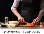 the chef prepares japanese... | Shutterstock . vector #1283400187