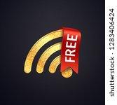 golden wifi vector icon with... | Shutterstock .eps vector #1283406424