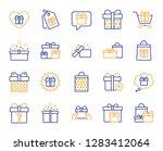 gift line icons. present box ... | Shutterstock .eps vector #1283412064