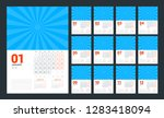 wall calendar planner template... | Shutterstock .eps vector #1283418094