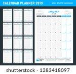 calendar planner for 2019 year. ... | Shutterstock .eps vector #1283418097