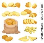 flat vector set of potato icons.... | Shutterstock .eps vector #1283426101