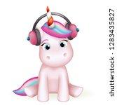 cartoon cute unicorn headphones ... | Shutterstock .eps vector #1283435827