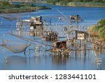 traditional fishing nets  old...   Shutterstock . vector #1283441101