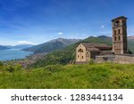 landscape with old church near...   Shutterstock . vector #1283441134