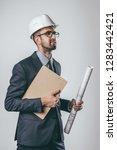 attractive male in elegant suit ... | Shutterstock . vector #1283442421