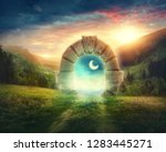 mysterious entrance to new... | Shutterstock . vector #1283445271