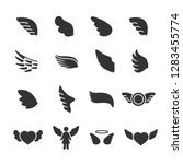 vector set of wings icons. | Shutterstock .eps vector #1283455774